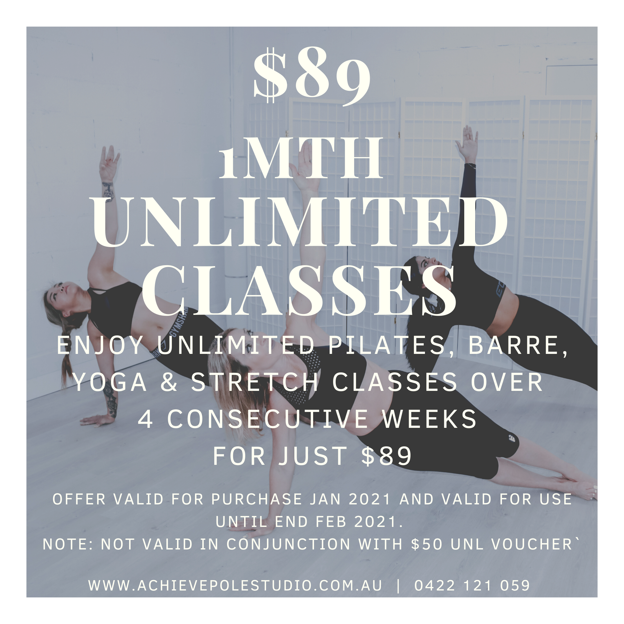$89 1Mth Unlimited Wellness Classes